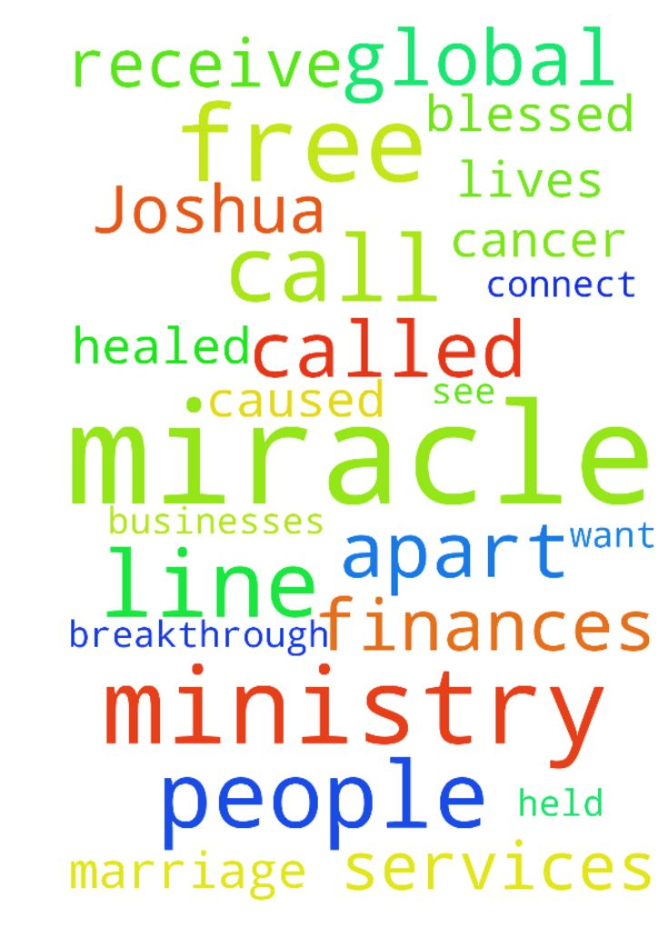 Im apart of a Global Miracle Ministry called Joshua - Im apart of a Global Miracle Ministry called Joshua Media Ministries Intl.We have a 247 FREE Miracle Prayer Line where we see masses call in for the prayer of agreement while seeking breakthrough, miracles ,and healing in their families,jobs,marriages, finances, ministry, and in their bodies and they leave the phone call healed of cancer, diabetes, blindness, tumors, etc. and wake up supernaturally debt free , restored in marriage…