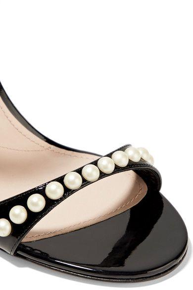 Miu Miu - Faux Pearl-embellished Tartan Tweed And Patent-leather Sandals - Black