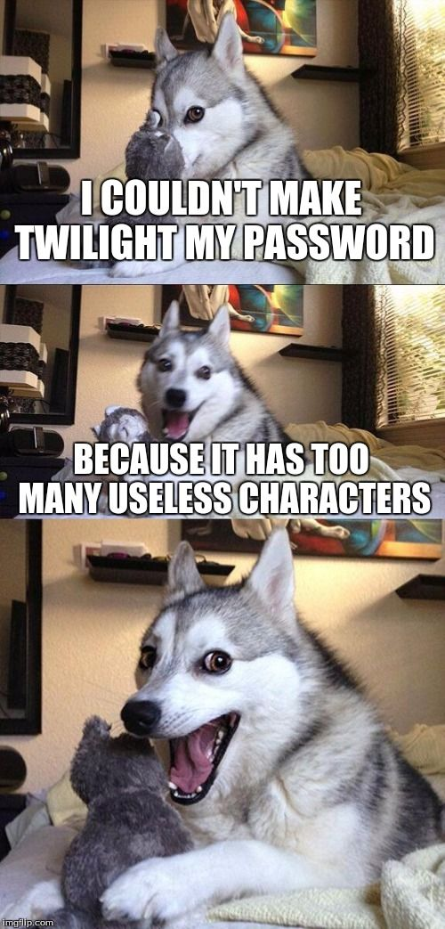 Bad Pun Dog | I COULDN'T MAKE TWILIGHT MY PASSWORD BECAUSE IT HAS TOO MANY USELESS CHARACTERS | image tagged in memes,bad pun dog | made w/ Imgflip meme maker