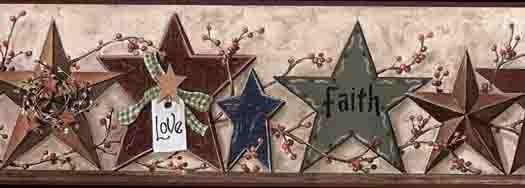 Tin and Wooden Love Laugh Family Star Wallpaper Border CB5505BDB - Wallpaper & Border | Wallpaper-inc.com