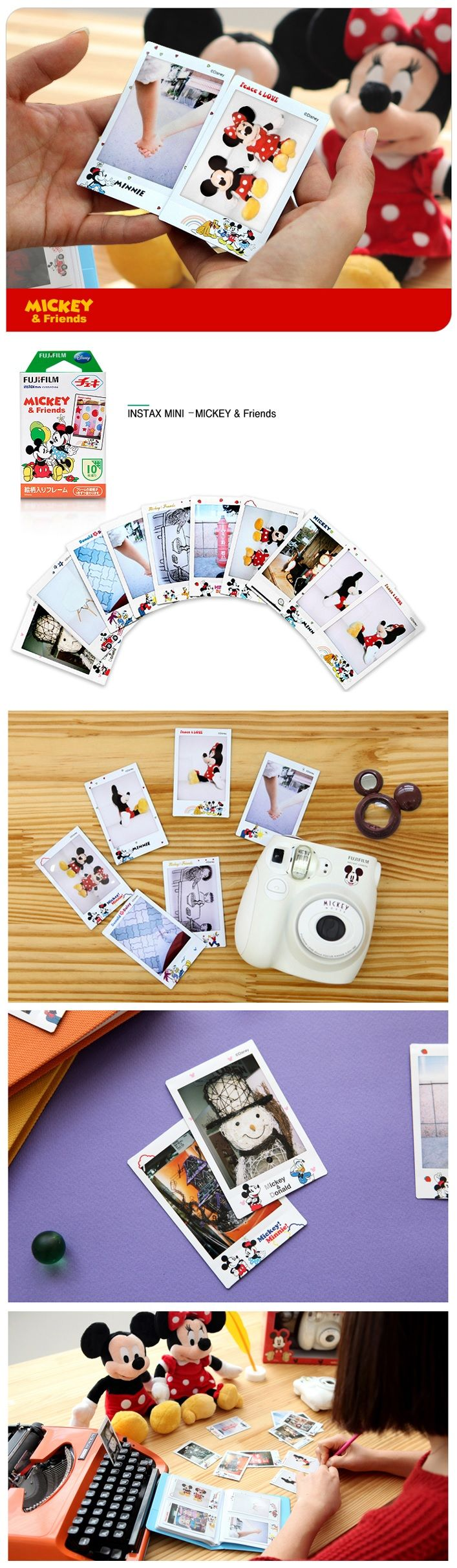 Fujifilm Instax Mini Film Disney Mickey Mouse for Instax Mini Camera 10pcs for 1 pack