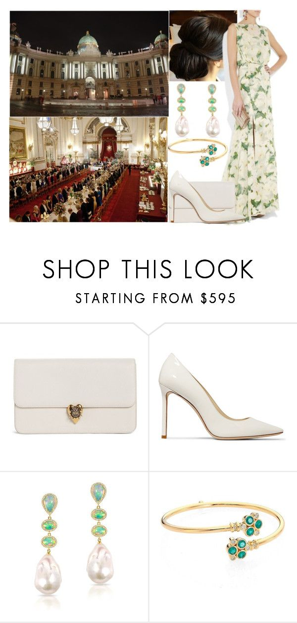 """Hosting a dinner for the International Olympic Committee at Hofburg Palace"" by eiraofaustria ❤ liked on Polyvore featuring Alexander McQueen, Jimmy Choo, Anne Sisteron and Temple St. Clair"
