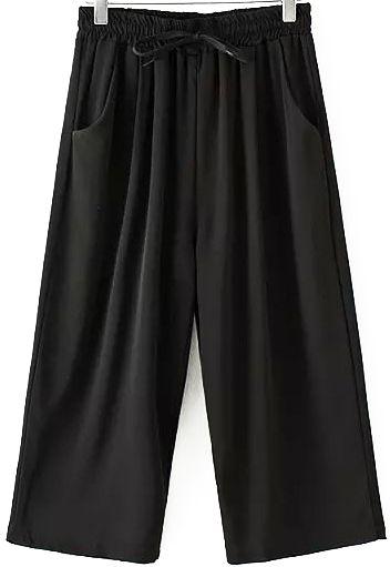 Pantalon avec cordon à rayure en mousseline - Noir 12.80