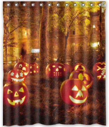 Fun Pumpkin Halloween Shower Curtain   So Cute #halloween #bathroom  #homedecor