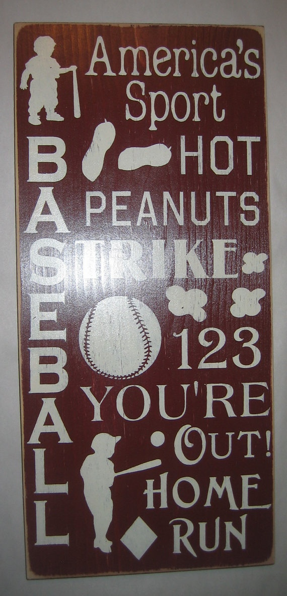 Baseball Sports Bedroom Nursery Playroom Wall by CottageSignShoppe