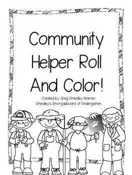 Community Helpers Roll and Color freebie