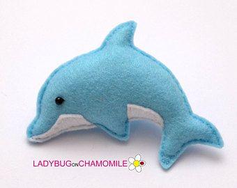 Felt DOLPHIN, stuffed felt Dolphin magnet or ornament, cute Dolphin, Dolphin toy, Sea creatures, home decor, Dolphin, Nursery decor,