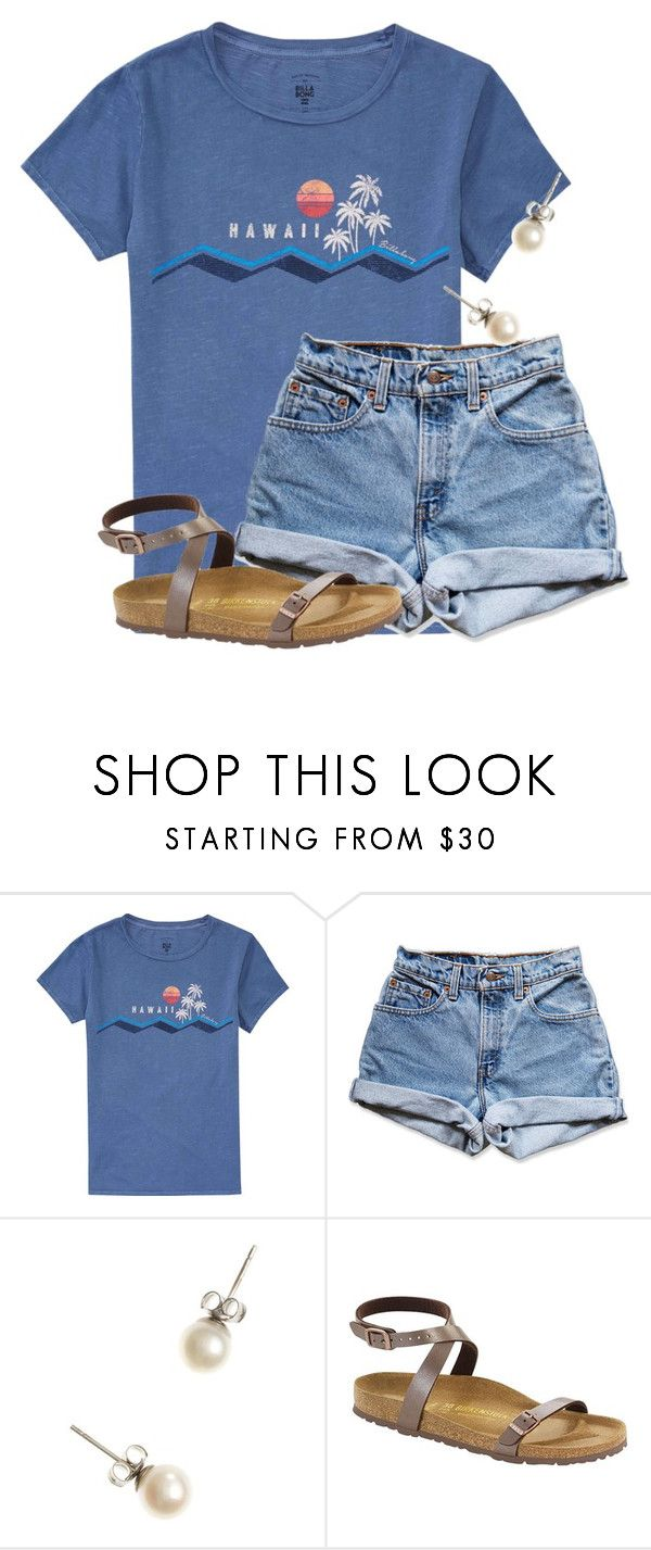 """""""I wish I could go to Hawaii"""" by flroasburn ❤ liked on Polyvore featuring Billabong, Levi's, J.Crew and Birkenstock"""