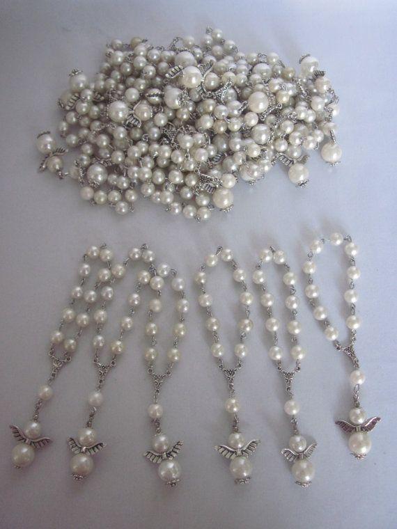 Lot of 20 White Angel Boy Girl Pearl Mini Rosary Favors for Baptism, Christening, Communion, Baby Shower, Pocket Rosary