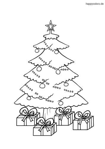 weihnachtsbaum mit geschenken ausmalbild  weihnachtliche