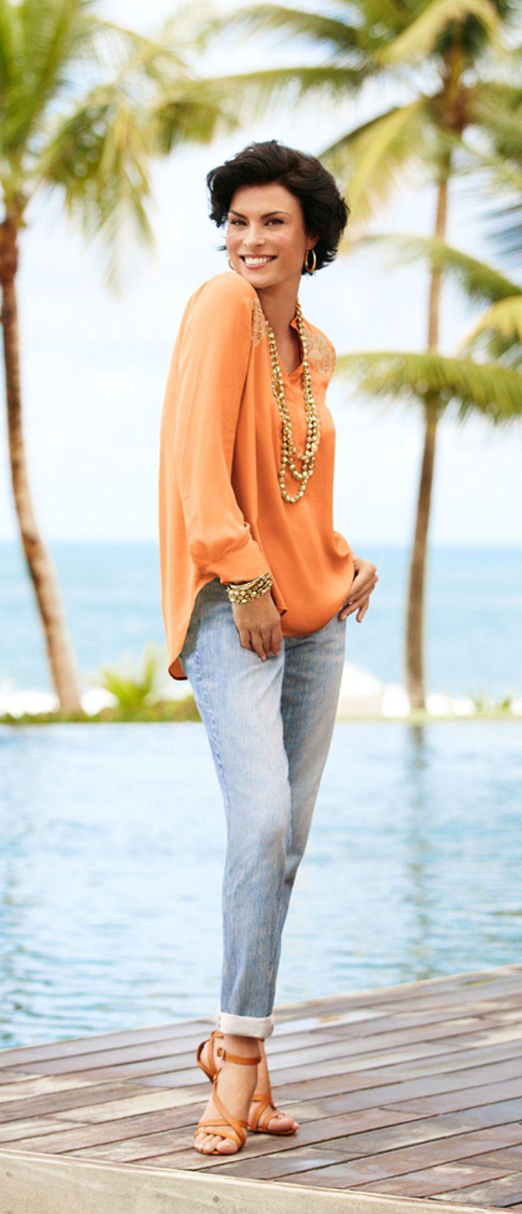 Boyfriend Jeans and feminine top. So pretty!   #chicos