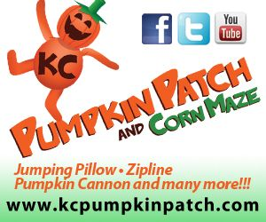 KC Pumpkin Patch is located just off of I-35 South at exit 207, in Gardner, KS (29755 W. 191st Street) and is open September 29 - October 31, 2012. Monday-Thursday, 9 am-3pm; Friday 9am-6pm; Saturday and Sunday 10am - 6pm.    Visit www.kcpumpkinpatch.com or www.facebook.com/kcpumpkinpatch for more information