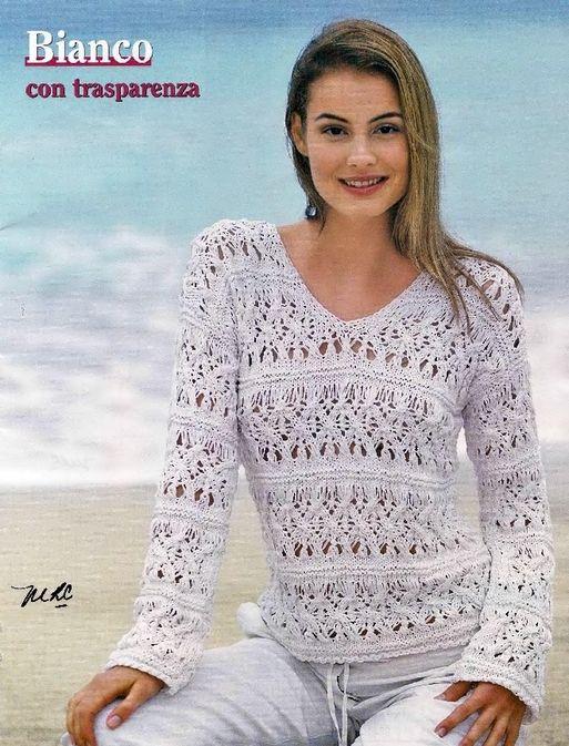 Белый пуловер с V-образным вырезом