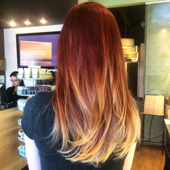 red to blonde ombre balayage - Google Search                                                                                                                                                                                 More