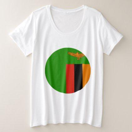 #Zambia Flag Plus Size T-Shirt - diy
