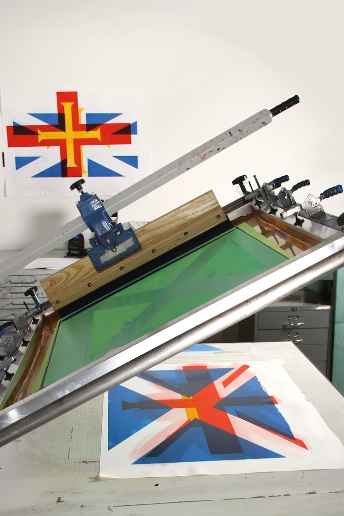 Printing a Scotish flag onto a Guernsey Flag Misprint. Each misprint is £60 and completely unique. #flag