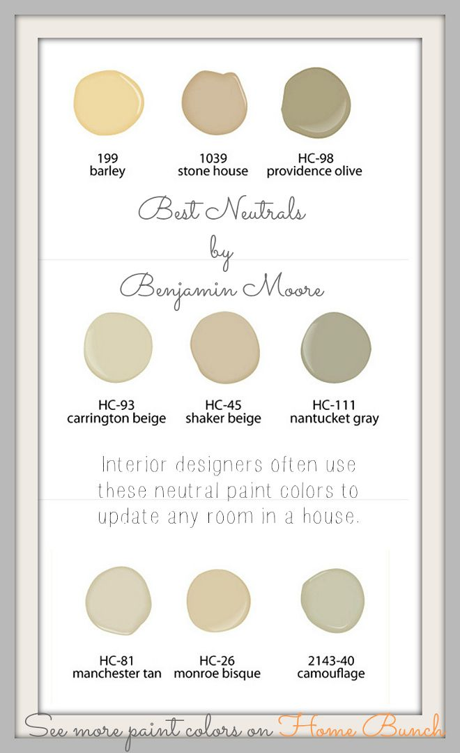 Best Neutrals by Benjamin Moore: Benjamin Moore 199 Barley. Benjamin Moore 1039 Stone House. Benjamin Moore HC-98 Providence Olive. Benjamin Moore HC-93 Carrington Beige. Benjamin Moore HC-45 Shaker Beige. Benjamin Moore HC-111 Nantucket Gray. Benjamin Moore HC-81 Manchester Tan. Benjamin Moore HC-26 Monroe Bisque. Benjamin Moore 2143-40 Camouflage. Via Home Bunch
