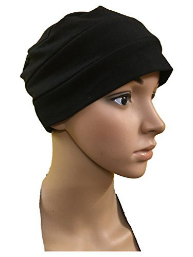 d86a2df0cafe3 BLACK CHEMO CANCER CAP WOMEN SUMMER CHEMO CAPS SLEEP TURBAN FOR WOMEN  UNDERSCARF CAPS UNDER HIJABS