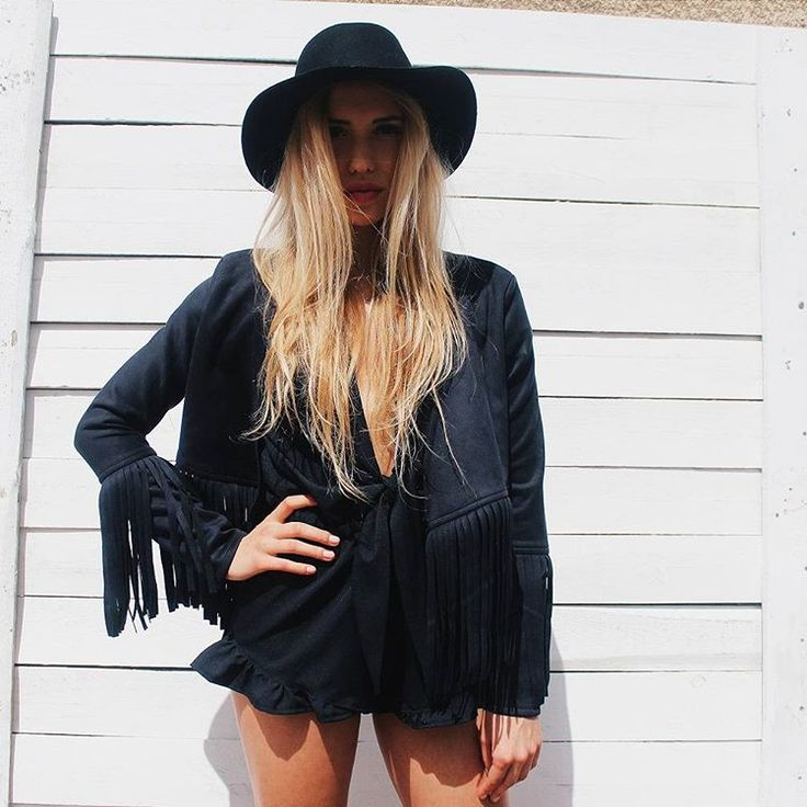 Fringe jacket and romper