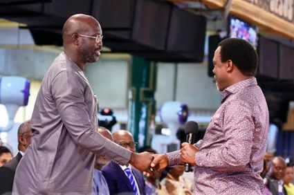 George Weah meets TB Joshua seeks Gods face at Synagogue church