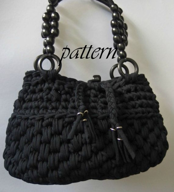 Crochet pattern t shirt yarn bag with by PatriceCrochetDesign