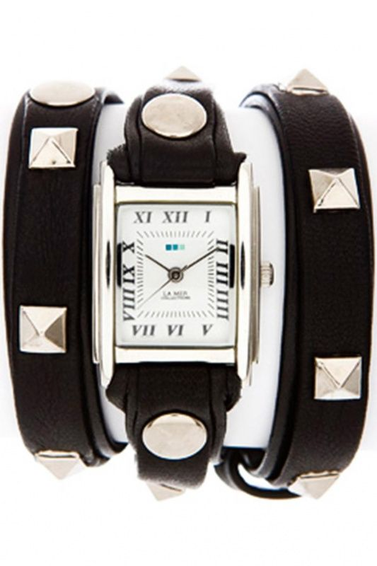 LMLW1010B - La Mer Collection Pyramid Stud Black Silver dames horloge