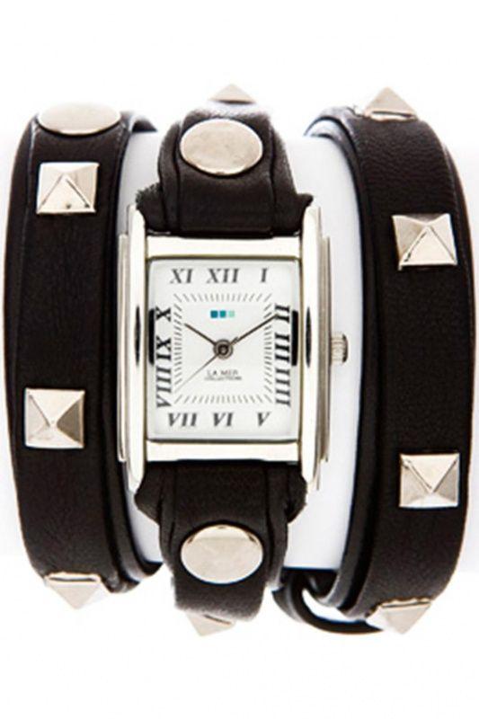 LMLW1010B - La Mer Collection Pyramid Stud Black Silver dames horloge