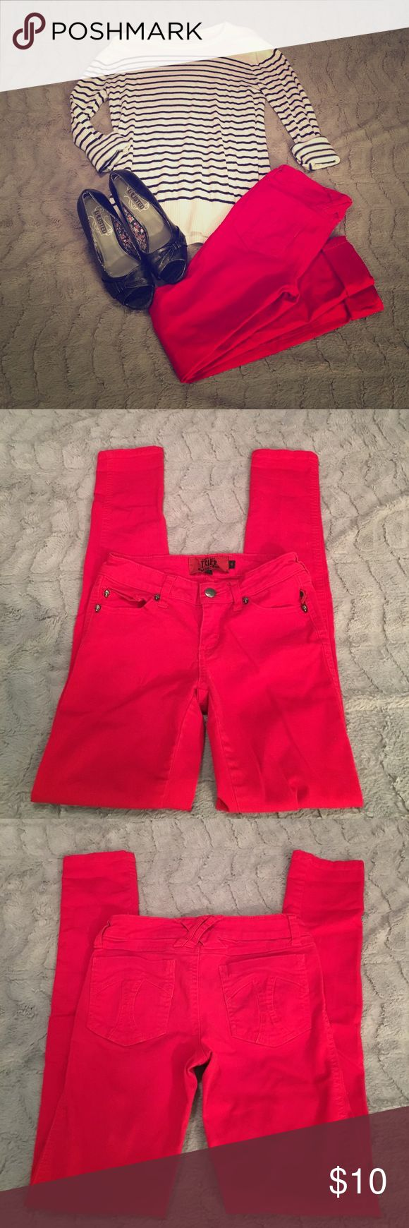 Tripp, Lipstick Red, Skinny Pants Cute Red skinny pants by Tripp. The look great rolled at the hem with a pair of wedges. In great condition except for a small spot on the right thigh that the fabric looks wrinkled. Tripp nyc Pants Skinny