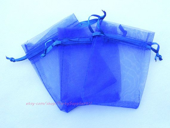 Organza Favor Bags 100 Royal Blue Organza Gift Bags with Drawstring,4x6 In Sheer Fabric Favor Bags Party Mini Organza Favour Bag SALE