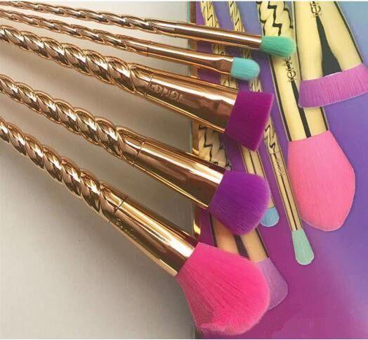 Hot #5pcs Tarte Bright Rose Gold Spiral Shank Unicorn Screw Makeup Brushes Sets #Unbranded