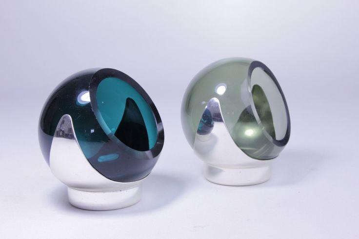 Glass Ashtray Set of 2 vintage Glass Ashtrays Space design 60s 70s by Vintageshopoflucy on Etsy