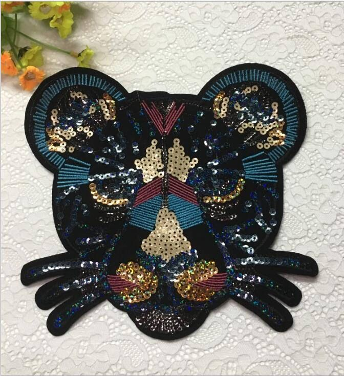 Excited to share the latest addition to my #etsy shop: Handmade Black leopard head big 20*20cm patch Embroidery lace applique palette fabric sequined sweater t-shirt clothing DIY decoration