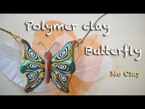 Polymer clay tutorial - DIY how to make a butterfly jewelry - YouTube