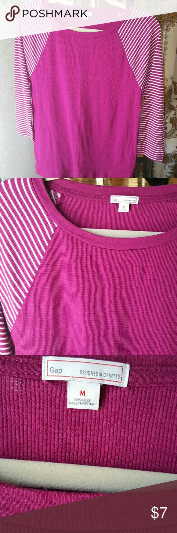 Gap striped waffle top. Vibrant fuchsia top with white stripes.  Very light and comfy. GAP Tops