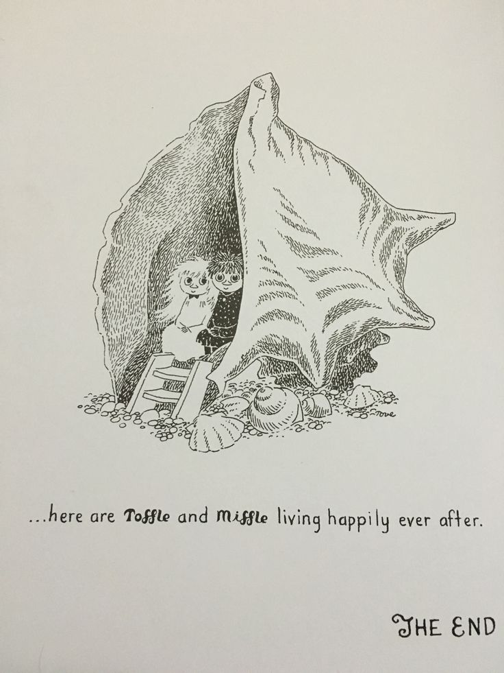 """Toffle and Miffle living happily ever after. From the Moomin book """"Who Will Comfort Toffle?"""""""