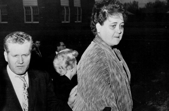 Gladys Love Presley: Mr. & Mrs. Presley show their sadness as they turn away after watching their only child, Elvis, board a chartered bus for Ft. Chaffee, Arkansas. Memphis, March 24th 1958.