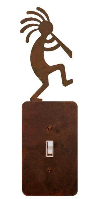"""Kokopelli Flute Player Steel Switch Plate/Outlet Cover 5 Colors (IW1046-) - A decorative Southwest design of Kokopelli the Flute Player handcrafted laser cut steel electrical cover plate (switch plate or outlet cover) is available in various sizes for toggle switches or rocker switches and/or outlets and available in your choice of 5 finishes - natural rust patina, blackened iron patina, copper verdigris patina, rust powder coat paint, or black powder coat paint. NOTE These are """"flat"""" pieces…"""