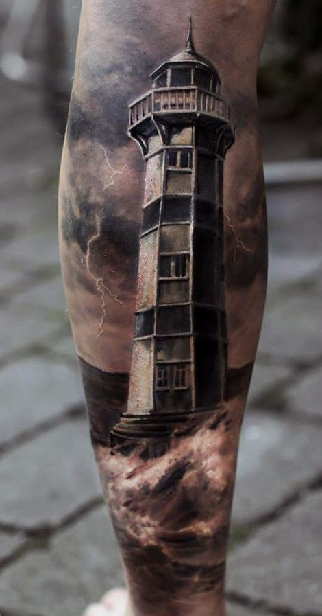 Light House Tattoo On Legs