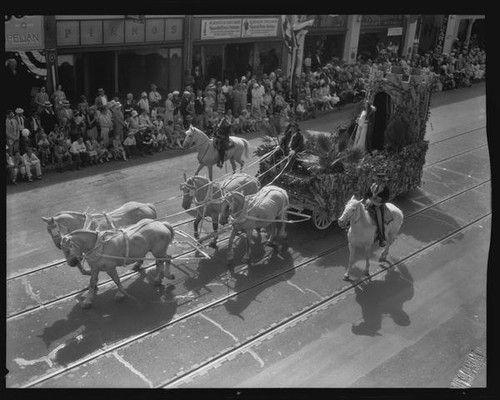 Saint Barbara float in the parade for the Old Spanish Days Fiesta, Santa Barbara, 1930