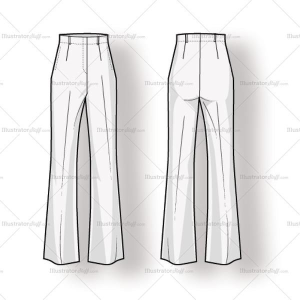 High waisted women's trouser fashion flat sketch with single front and back pleats, boot cut leg, on seam pockets, and belt loops.