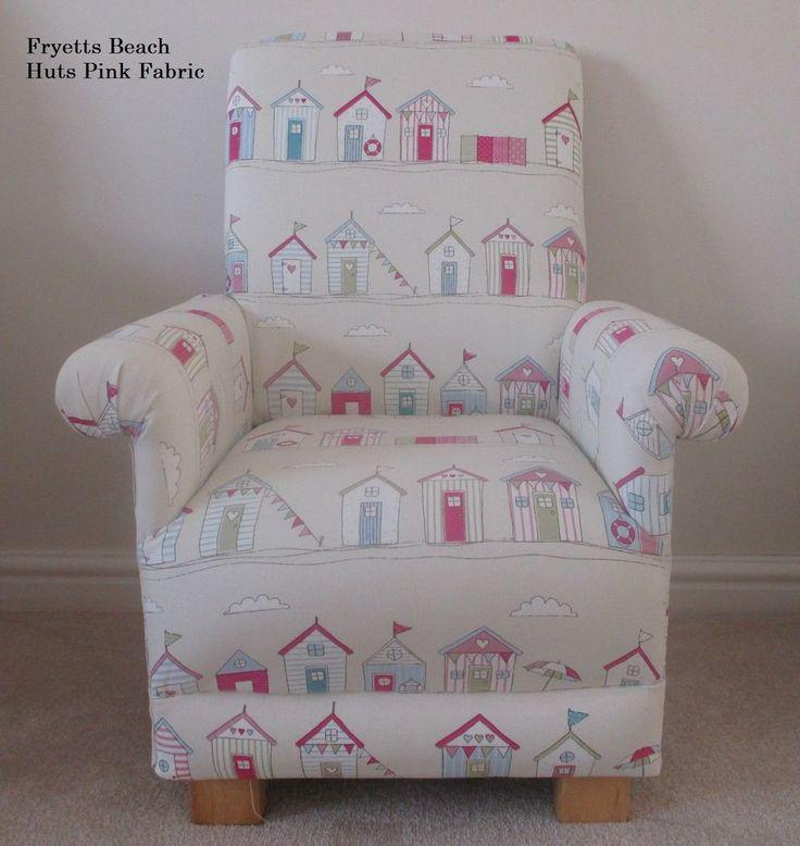Fryetts Beach Huts Pink Fabric Childs Chair Cream Nursery Bedroom Kids  Armchair