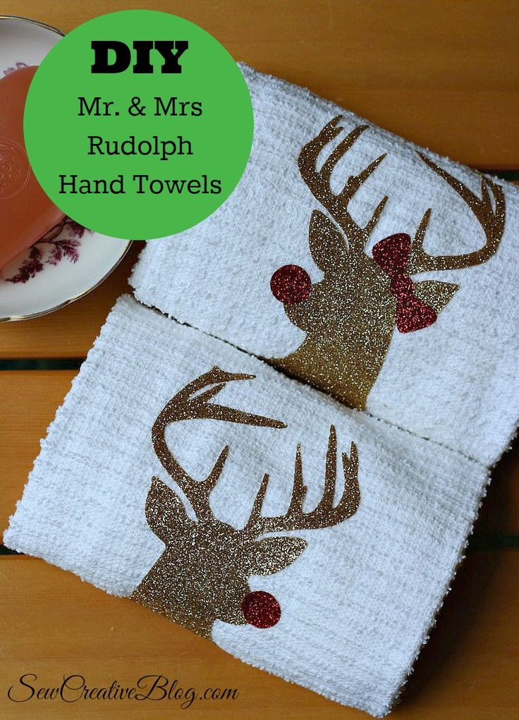DIY Mr. & Mrs Rudolph Hand Towels made with the Cricut Explore from Sew Creative
