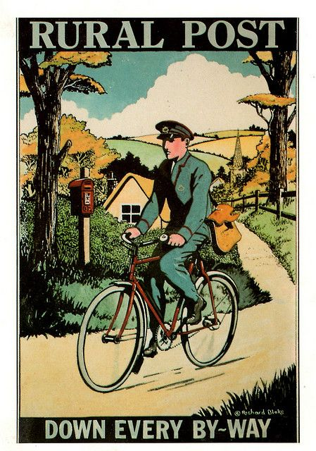 Vintage poster celebrating Post Office Mail Delivery to EVERY home in America.