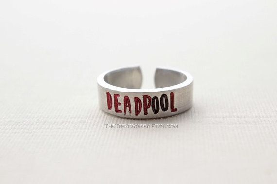 Deadpool Hand Stamped Aluminum Rings available at The Trendy Geek on Etsy
