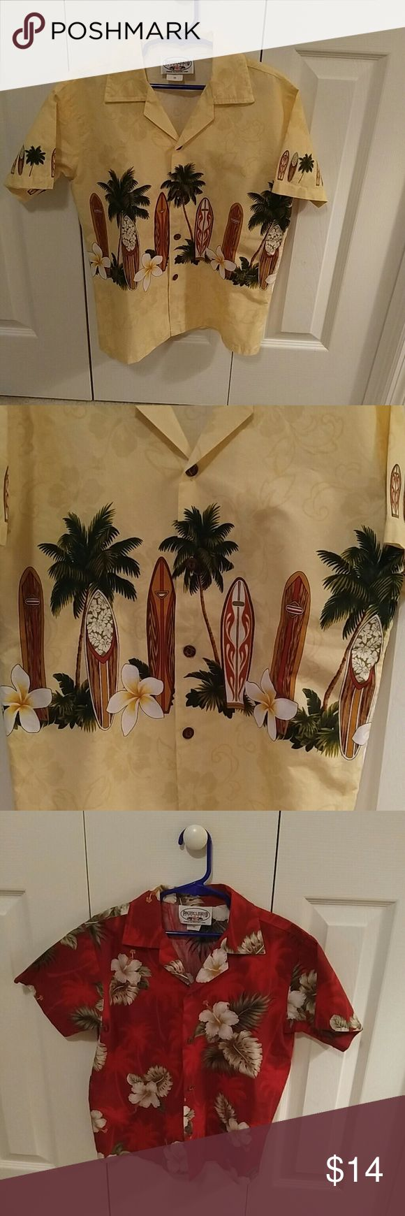 Two Adorable Boys Hawaiian Shirts.🌴 Two Hawaiian shirts, very colorful and in excellent condition. Worn once for a cruise. Shirt are Medium which is a 10/12 Pacific Legend Shirts & Tops Button Down Shirts