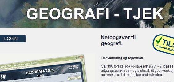 GEOGRAFI-TJEK er et site med trænings- og tekstopgaver til repetionsbrug