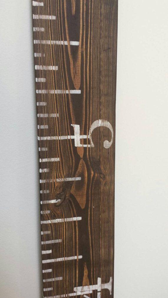 Growth chart ruler finished in a dark stain by LexsLittleDarlings