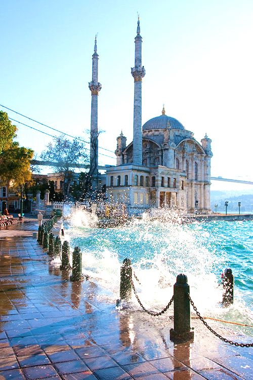 Ortaköy Mosque in Istanbul, Turkey...want to go walking along this quay