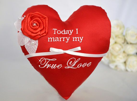 Today I Marry My True Love Valentine's Day Rose Red Heart Wedding Ring Bearer Pillow