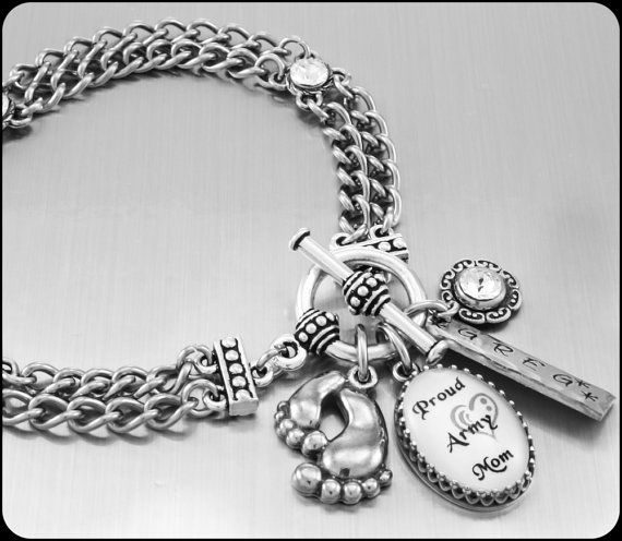 Military Mom Charm Bracelet, Military Jewelry, Personalized Military Mom Bracelet, Army, Navy, Marines, Air Force, Coast Guard Jewelry   by BlackberryDesigns, $68.00  www.blackberrydesigns.etsy.com